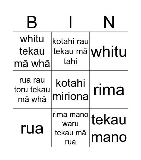 Whare Whare - Ngā Tau Bingo Card