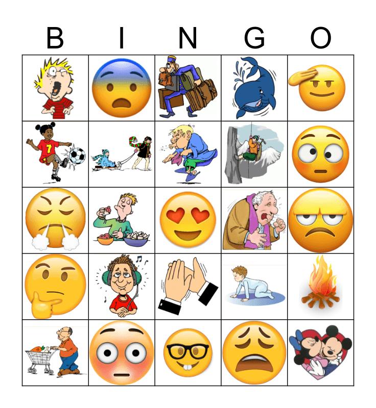 Actions & Emotions Bingo Card
