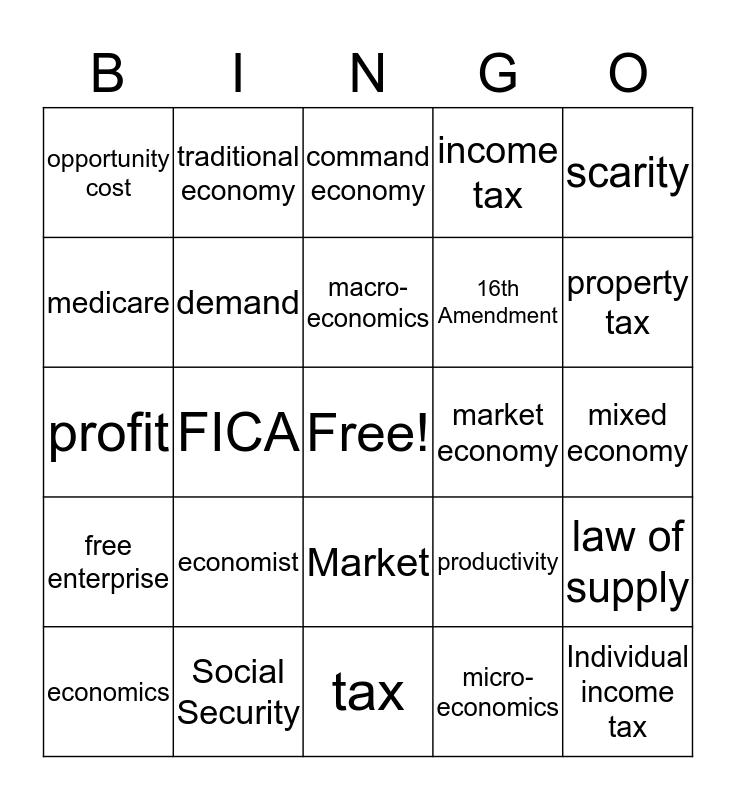 Economic Systems Bingo Card