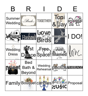 Toni's Bridal Shower Bingo Card