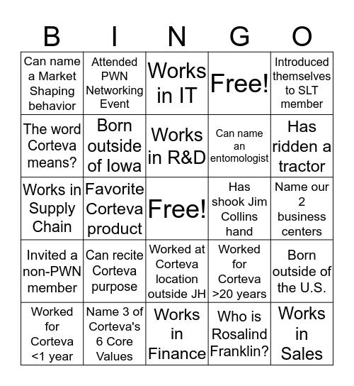 Corteva Networking Bingo! Bingo Card
