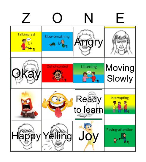 The Zones of Regulation Bingo Card