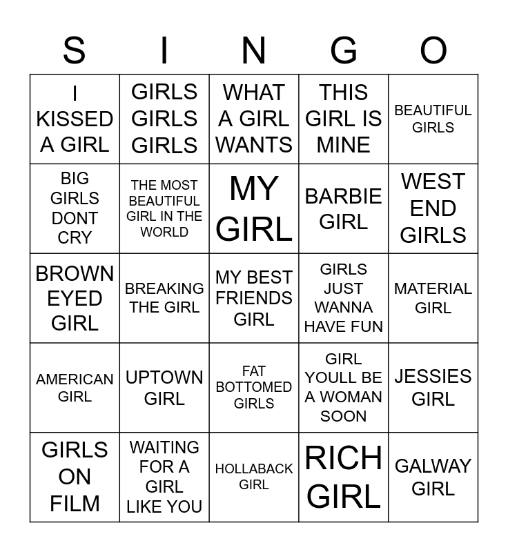 353 ITS ALL ABOUT THE GIRLS Bingo Card
