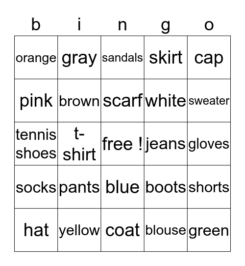 clothing and colors ! Bingo Card