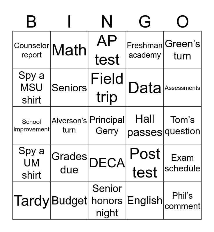 Staff meeting Bingo Card