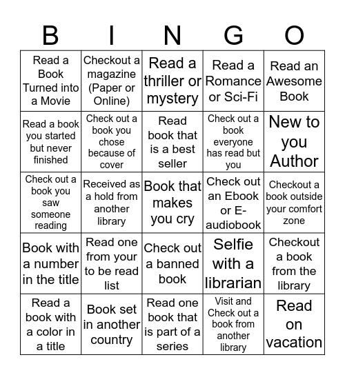 Adult Summer Reading Program Bingo Card
