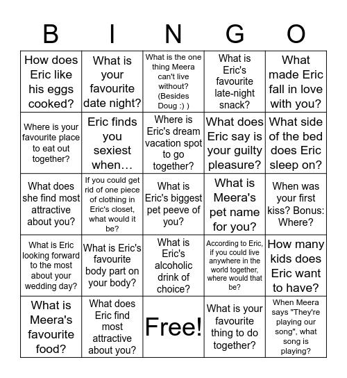 Meera's Bomb Bachelorette Bingo Card