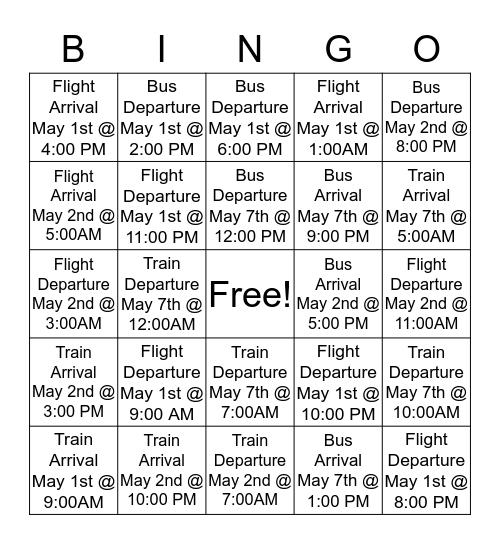 Present simple as a future tense Bingo Board Bingo Card