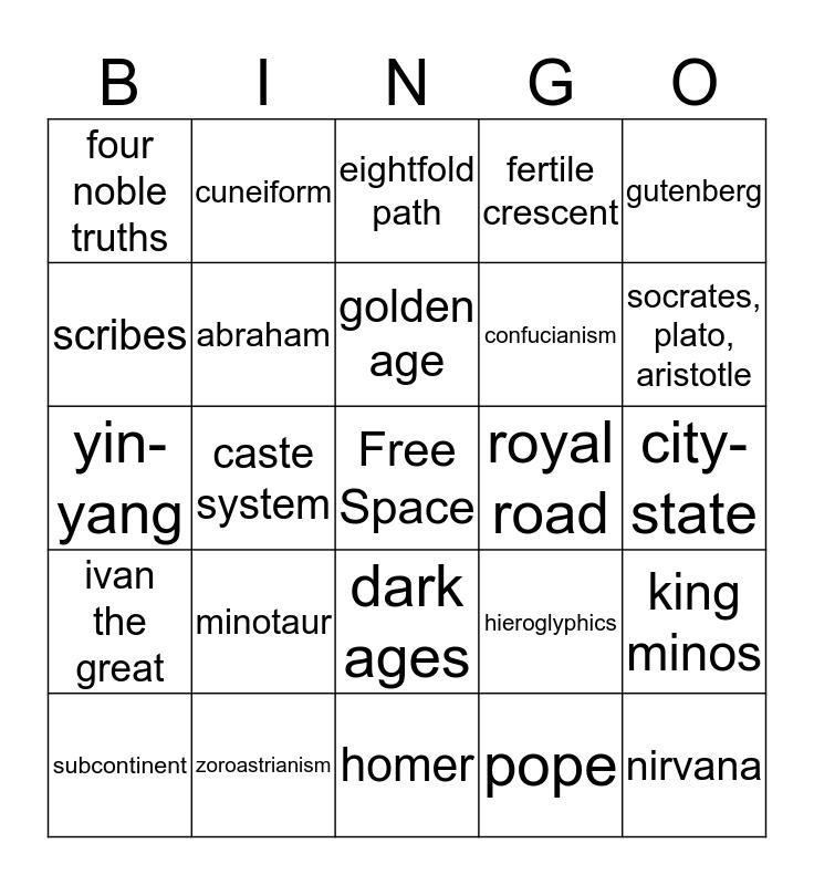 World History 1 Bingo Card