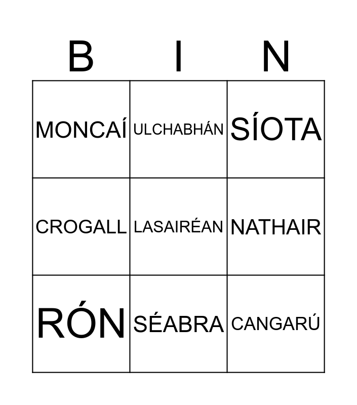 Ainmhithe sa Zú Bingo Card