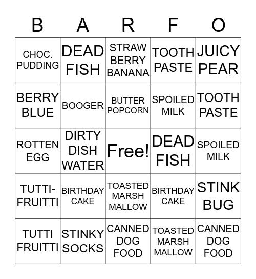 JELLYBEAN BARFO Bingo Card