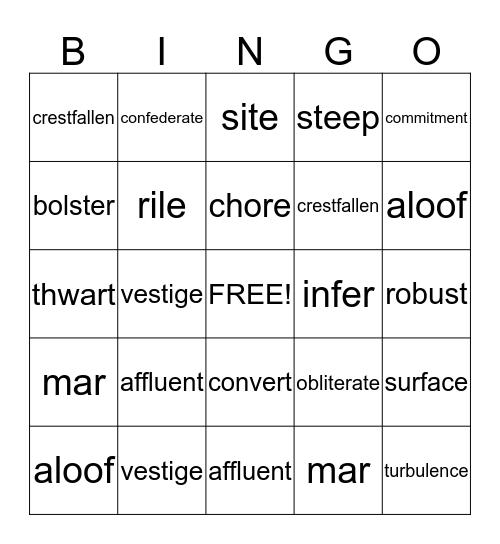 Lesson 7 Bingo Card