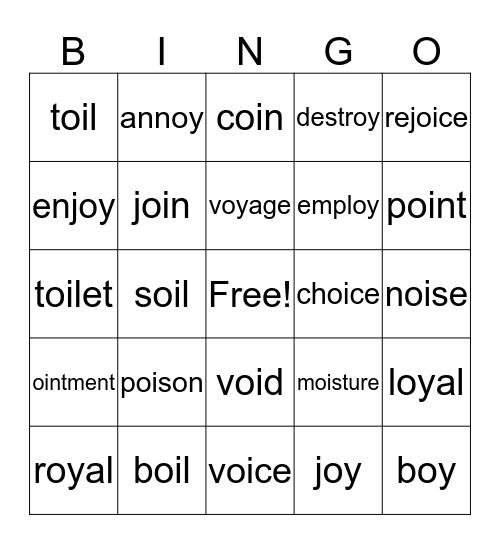 Oy-Oi Bingo Card