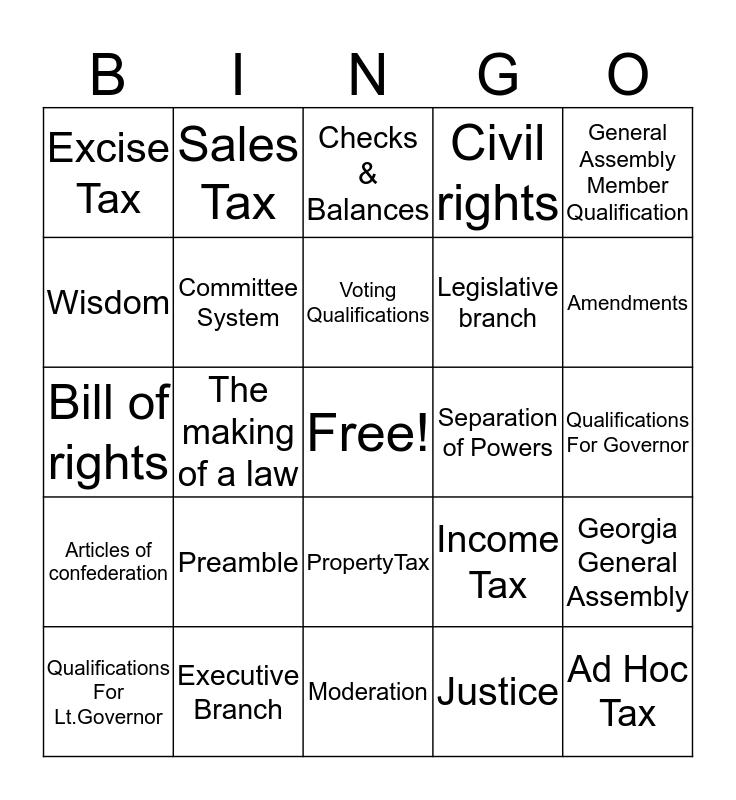 Georgia Government 1 Bingo Card
