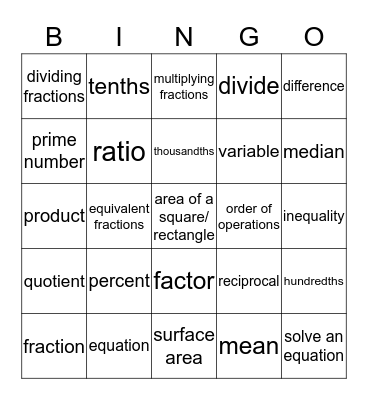 6th Grade Math Vocabulary Bingo Card