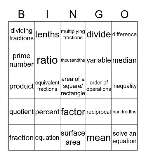 6th Grade Math Vocabulary Bingo Card