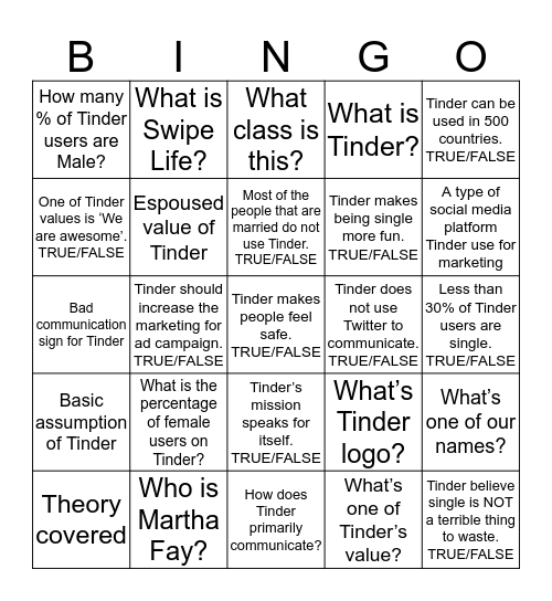 Shout 'Tinder' when you achieve Bingo status Bingo Card