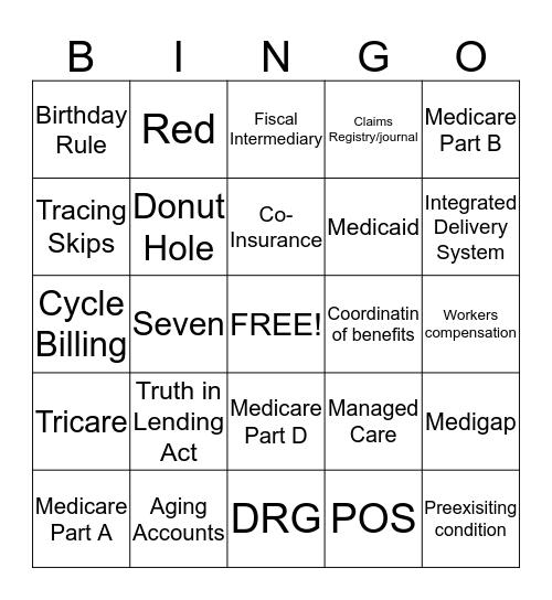Medical Insurance Billing Bingo Card
