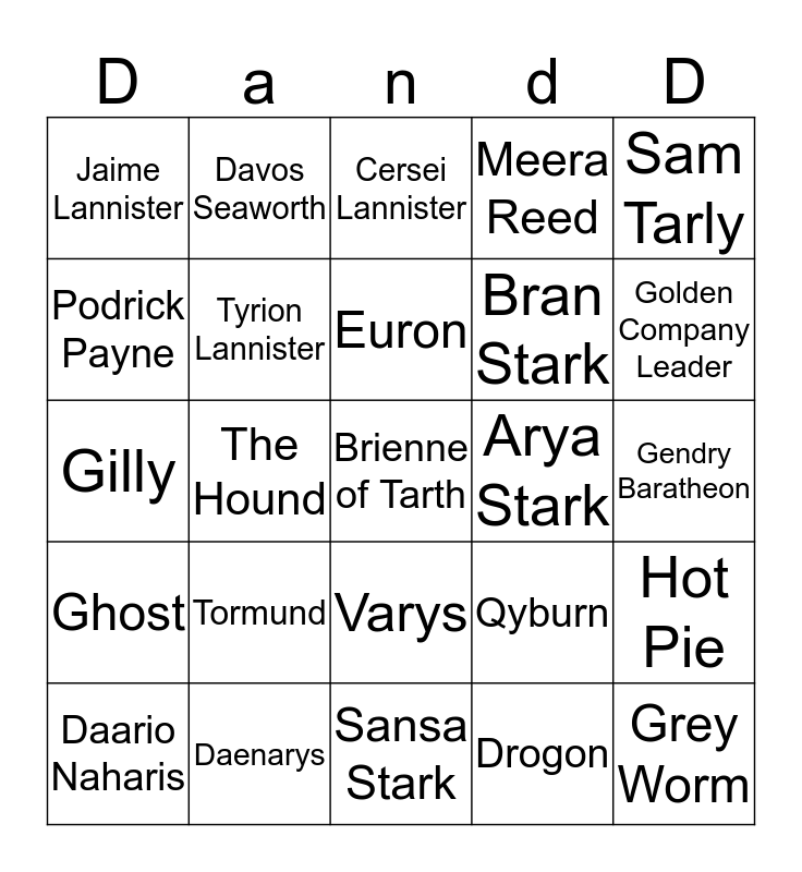 Bingo of the Many Faced God Bingo Card