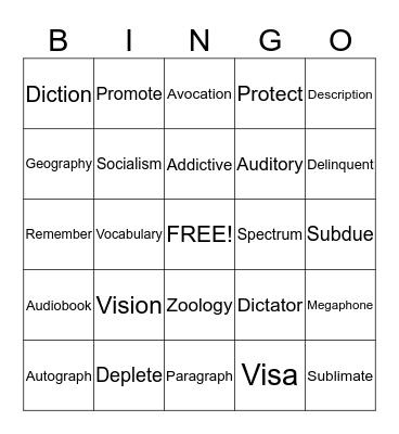 Greek and Latin Roots Bingo Card
