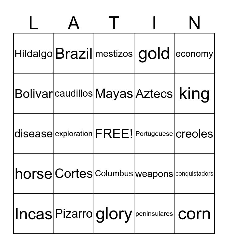Latin American History Bingo Card