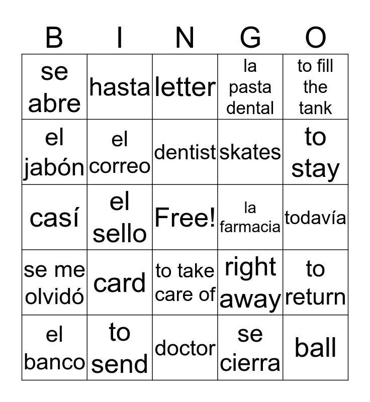 Capítulo 6 Vocabulario Bingo Card