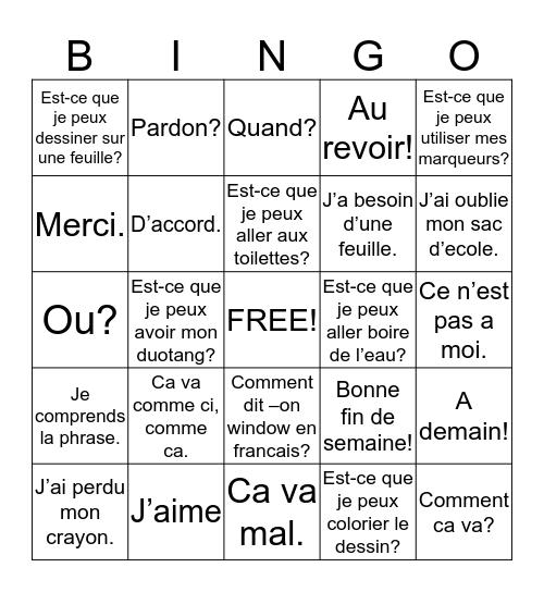 Les expression utiles Bingo Card