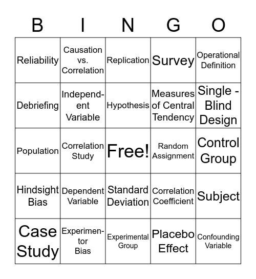 Methods and Approaches Bingo Card