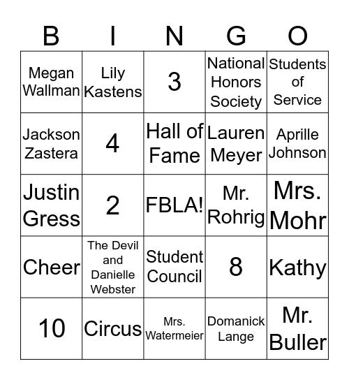 FBLA High School Bingo Card