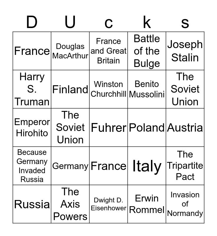 Ducksters number 5 Bingo Card