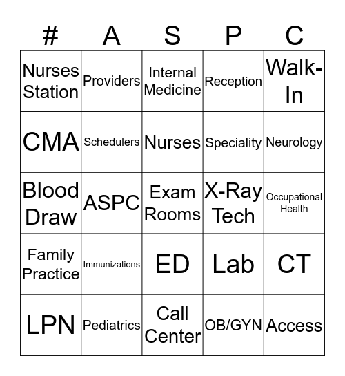 ASPIRUS WEEK BINGO Card