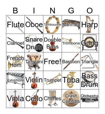 Orchestra Instruments Bingo Card