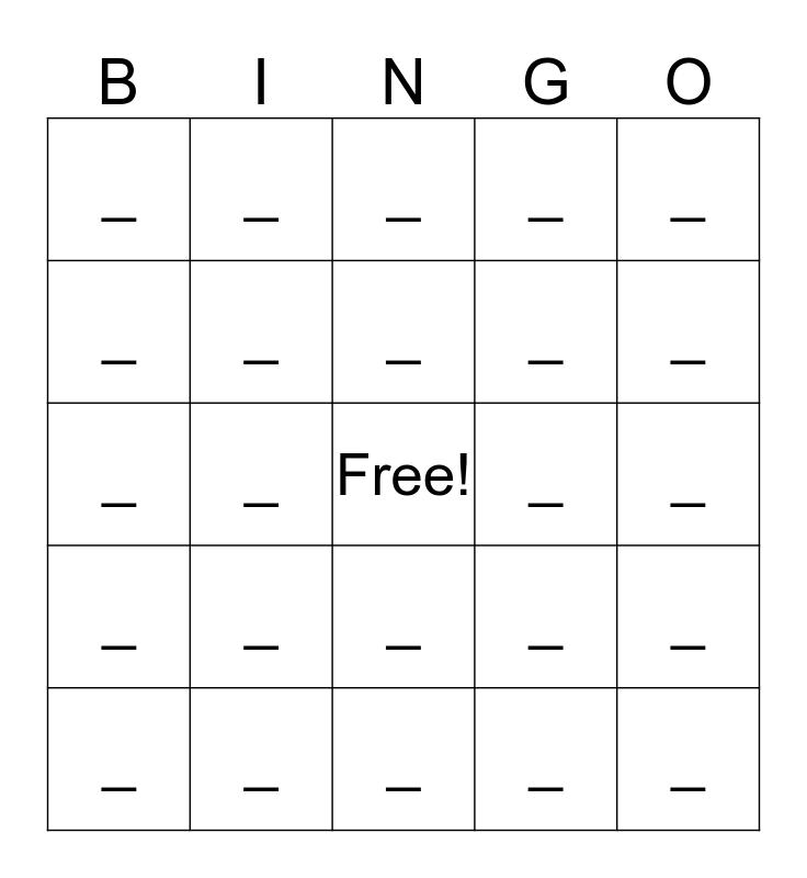 Dáduìle Bingo Card