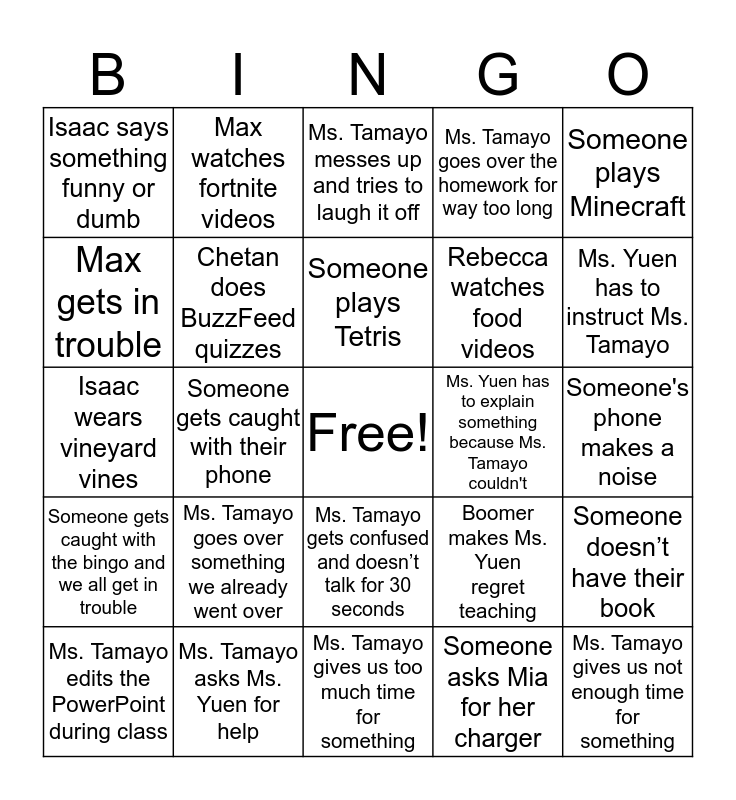 english class Bingo Card