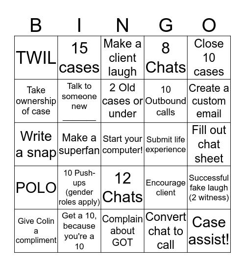 F     O     L    I      O Bingo Card