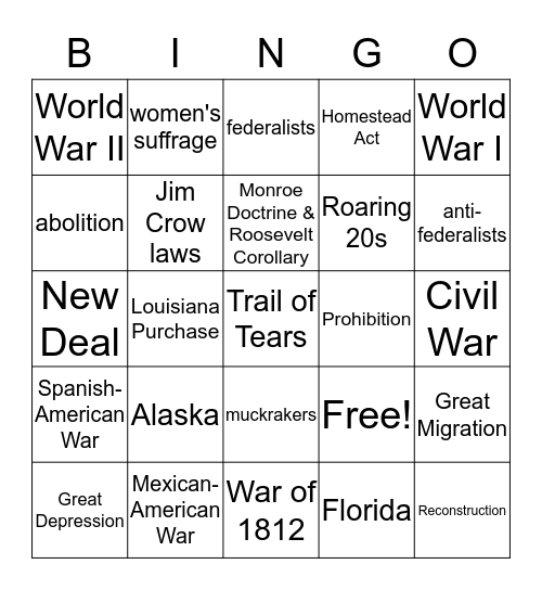 US History ASA BINGO! Bingo Card