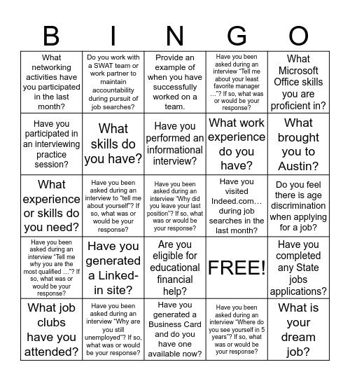 Job Search Bingo Card