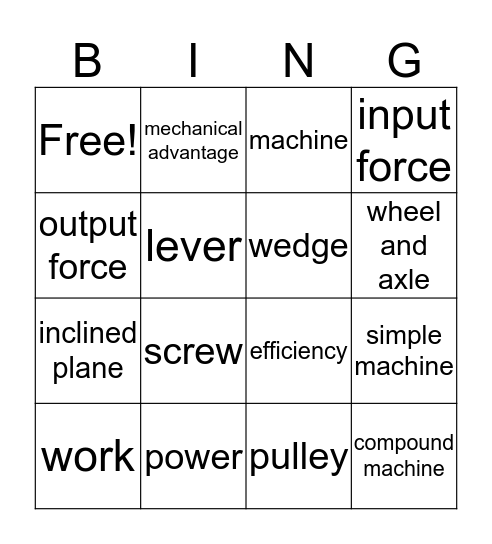 Chapter 5 Vocabulary Bingo Card