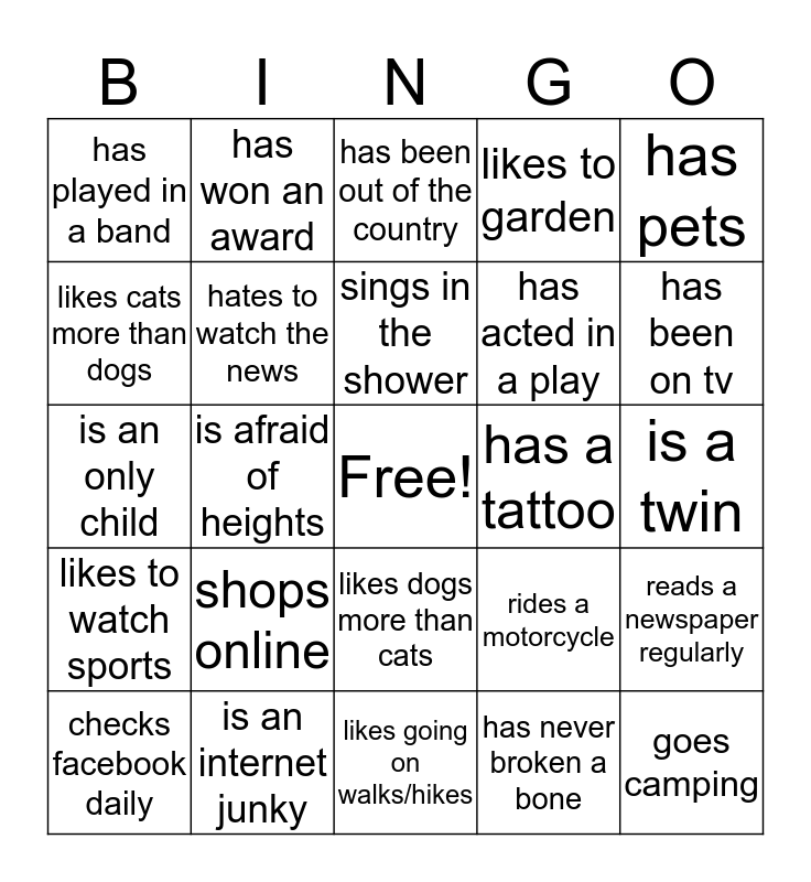 Get To Know You BINGO! Bingo Card
