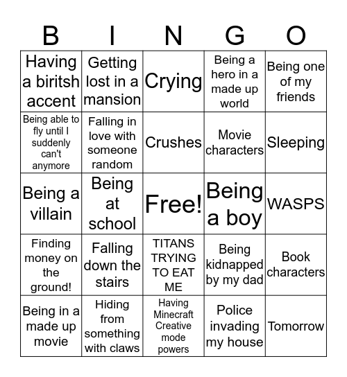 Dreaming about... Bingo Card