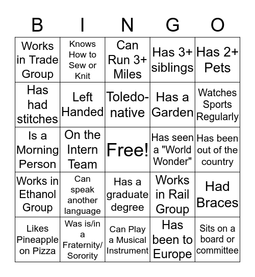 Intern Mixer Bingo Card