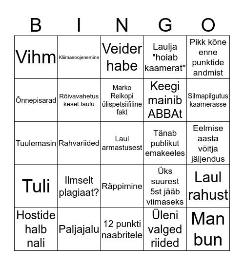 Eurovisiooni bingo Card