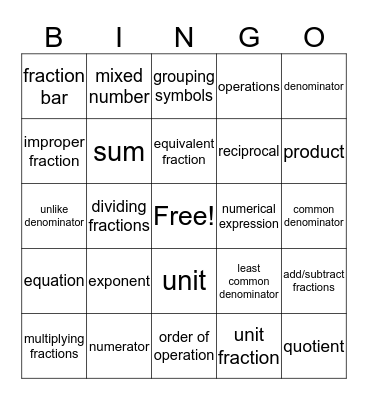 Vocab Final 3 Bingo Card