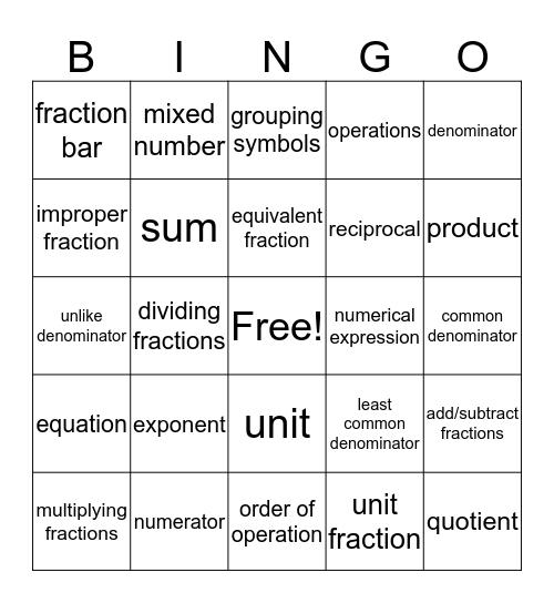 Vocab Final 3 Bingo Card