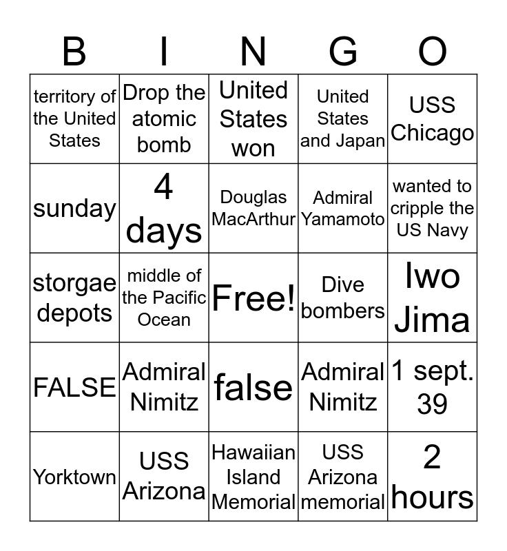 number 7  Bingo Card
