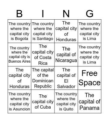 Capital Cities Bingo Card