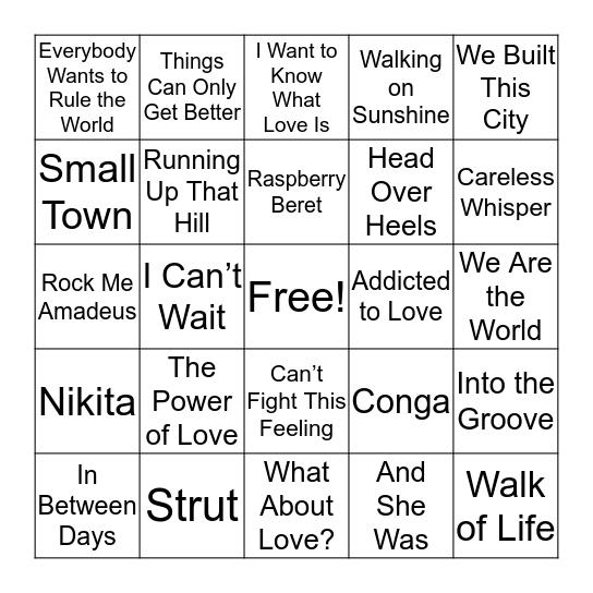 Class of '85 Bingo Card