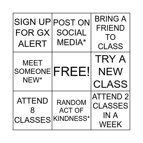 GX ON WHEELS Bingo Card