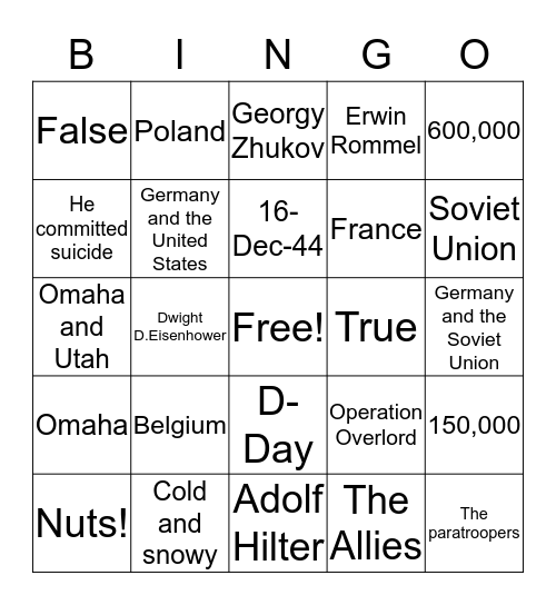 Allied Powers Bingo Card