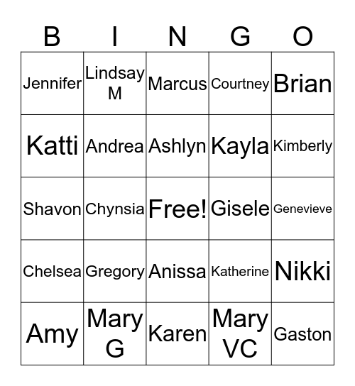 HRM Office Games Bingo Card